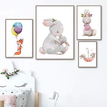 Watercolor Rabbit Fox Balloon Flower Wall Art Canvas Painting Nordic Posters And Prints Cartoon Animal Wall Pictures Kids Room