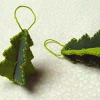 Tiny Tattered Trees - Primitive Hand Stitched Ornaments - Set of 2