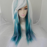 ON SALE / Snowflake Lake / White Blue and Teal / Long Wavy Layered Wig