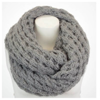 Beautiful Popcorn Weave Grey Infinity Scarf, Cowl