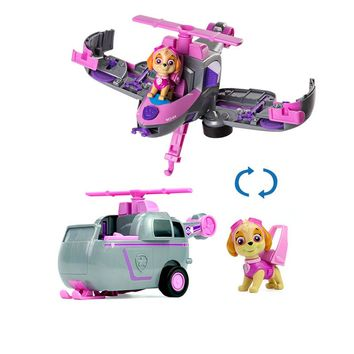 Paw Patrol dog skey Flip Fly Vehicle toys Can Have Fun With This 2-in-1 Vehicle Transforming From Bulldozer to a Jet Kids