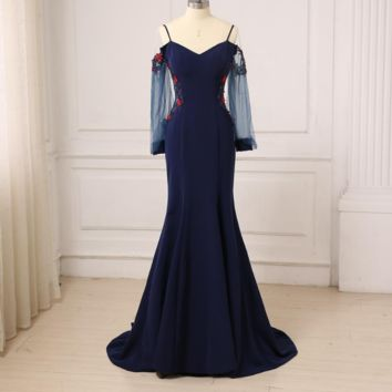 Navy Long Evening Dress Illusion Long Sleeves The Bride Party Sexy Backless Mermaid Prom Dresses