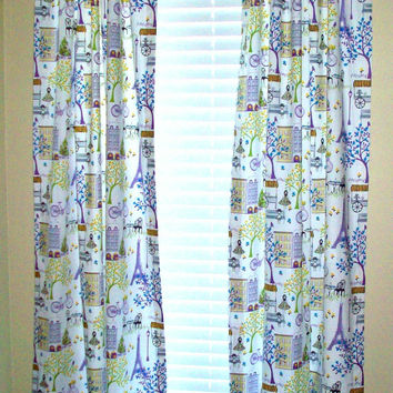 "Beaded Paris Custom Drapery Panels / 2 curtain panels / 63"", 84"", 96"",108"" / Girls bedroom drapes/ Purple & lime green colors"