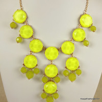 Fluorescent Yellow Bubble Necklace,Candy Statement Bib,Cluster Necklace,Gemstone Necklace,Gift for Mom/Girlfriend,Her,Top Quality