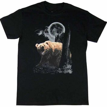 Wild Bear In The Night - Grizzly Bear T-Shirt
