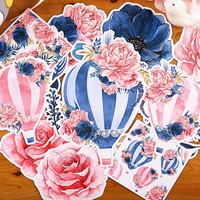 16pcs/lot Hot air balloon with flowers paper sticker Decoration Diy Scrapbooking Sticker Stationery kawaii label stickers