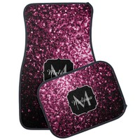Beautiful Pink glitter sparkles Monogram Car Mat