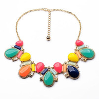 Colored Stone Statement Necklace