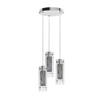 Dianolite 3 Light Polished Chrome Clear Glass Round Pendant with Zebra Fabric Sleeve Silver Wire