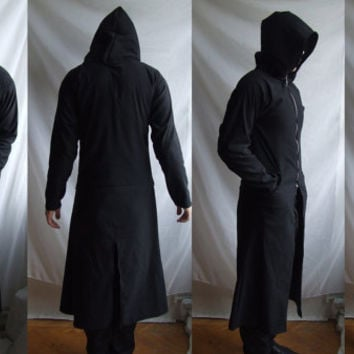 Reaper Hoodie ( long robe trenchcoat with large hood custom made related to gothic industrial post apocalyptic )
