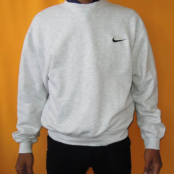 Nike Sweater 90s Vintage Pullover Designer Sweatshirt Embroidered Swoosh Logo Cotton Winter Gray Crew Neck Jumper (02/04)