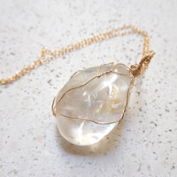 Wire Wrapped Crystal Quartz Pendant 14K Gold Filled Necklace layered bohemian necklace healing crystals