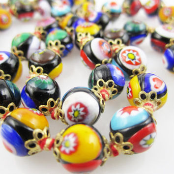 Vintage Necklace Millefiori Venetian Art Glass Hand Knotted