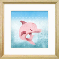 Underwater Pink Dolphin 8x8 Wall Art Decor Room Print by Caramel Expressions