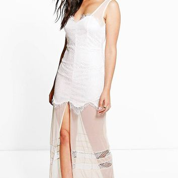 Boutique Gill Lace and Mesh Panelled Maxi Dress | Boohoo