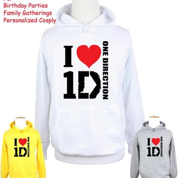 Unisex Fashion Band I Love 1D One Direction Design Hoodie Men's Boy's Women's Girl's Sweatshirt Tops Printed Hoody