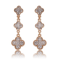 Beady Cleef Triple Clover - Gold with Crystal