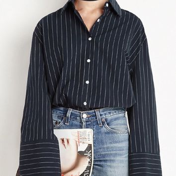 Dark Blue Stripe Tie Collar Wide Sleeve Shirt