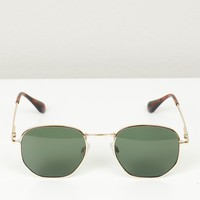 Geometric Wire Frame Sunglasses Gold