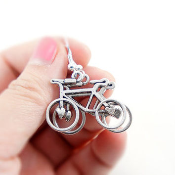 Lovely Bike Earrings - Antiqued Silver Plated Vintage Style Bicycle Bike Dangle Earrings - Gifts Ideas - CP084