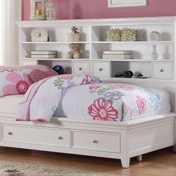 Lacey collection white finish wood twin day bed with storage drawers and back shelves