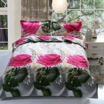 Home textiles New The red pink flower 3D 4pcs Bedding Sets Duvet/Comforter Cover Bed Sheet Bedclothes,Cotton/Polyester queen