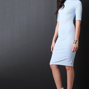 Spring Quarter Sleeves Cocktail Midi Dress