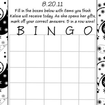 Black and White Bridal Shower Bingo Cards
