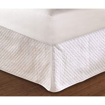 "Greenland Home Fashions Accessories Collection Diamond White Color Full Bed Skirt 18"", Quiltedd"