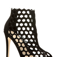 Black Faux Nubuck Cut Out Peep Toe Heels