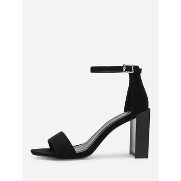 Two Part Block Heeled Ankle Strap Pumps