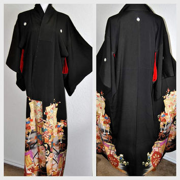 Taisho Japanese Kimono Robe Silk Floral Black Art Deco Shioze Crepe Silk Asian Gown Mother of the bride