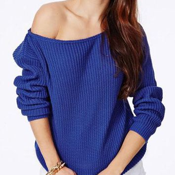 Loose Chunky Off The Shoulder Pullover Knitted Sweater