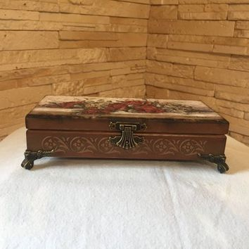 Jewelry box, jewelry storage, jewelry casket, treasure chest, vintage casket, wooden casket, carving casket,  ring bearer, ring dish cushion
