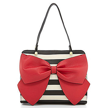 Betseyville by Betsey Johnson Bow Regard Striped Satchel | Dillards.com
