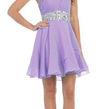 Short Chiffon Semi Formal Dress Lilac Rhinestone Waist