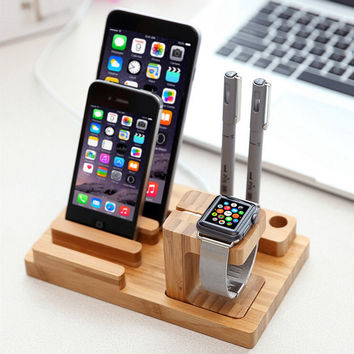 Multi-Function Natural Bamboo Wood Charge Station Charging Dock Cradle Stand Holders For iPhone 6 6S Plus 5 5S For i Watch