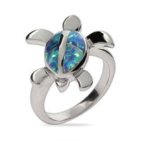 Sterling Siver Swimming Sea Turtle Ring with Opal Size 8 (Sizes 5 6 7 8 9 Available)