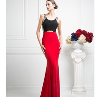 Black & Red Sexy Fitted Long Dress 2016 Prom Dresses
