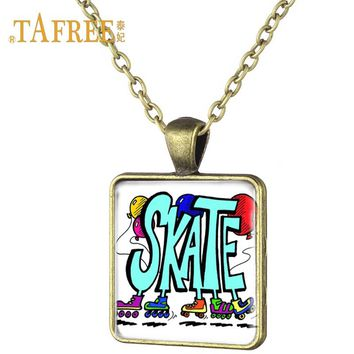 TAFREE Fashion love ice skating square necklace elegant posture dancer art pattern antique bronze plated necklaces jewelry ST16