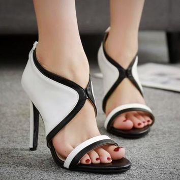Open Toe High Heel Shoes Women's Sandals Zipper Up Concise Fashion Pumps