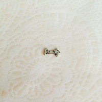 Family floating charm silver cursive for memory Lockets