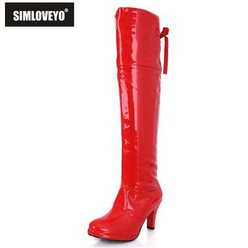 SIMLOVEYO Spring autumn Women shoes High heels Platforms Women knee boots Glitter Patent leather Knot Net White Red Black QH3099