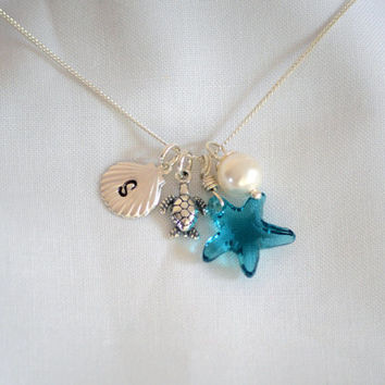 Set of 6 Bridesmaid Necklaces Sea Theme Necklace, Starfish Initial Disk Turtle Pearl Sterling Silver Charm Hand Stamped
