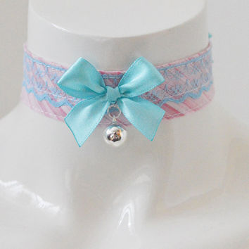 Ddlg day collar - Blue candies - ddlg daddy kink pink kawaii cute neko lolita kitten pet play little princess day collar - with bell