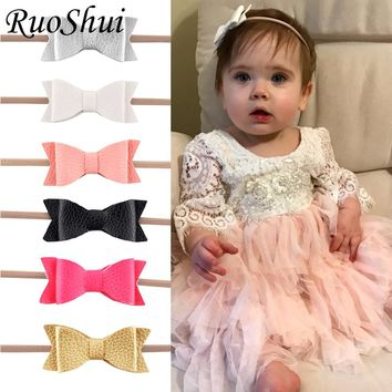 Newborn Girls Nylon Headband Leather Hair Bows Bowknot Headwear For Kids Children Hair Accessories Boutique Elastic Hair Band