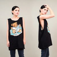 80s 90s Black Novelty Teddy Bear BIBLE Shirt Deep Armhole Oversize Slouchy Tank Top ONE SIZE
