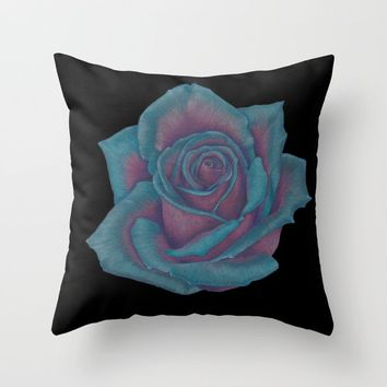 Turquoise Rose Throw Pillow by drawingsbylam