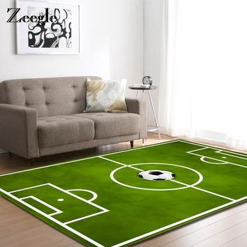 Zeegle Home Decor Football Field Carpet For Living Room Anti-slip Bedroom Carpet Bedside Rugs Office Chair Floor Mat Kids Carpet