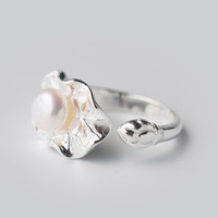 Cute pearl lotus leaf 925 sterling silver ring, a perfect gift